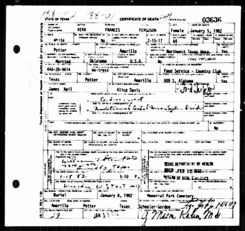 Death Record Vera Frances Ferg