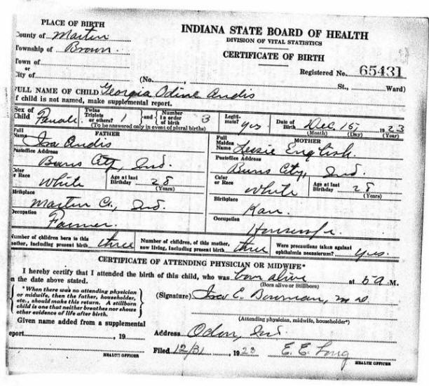 Birth Certificate Georgia Odin